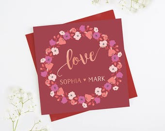 Love Valentine's Day Card Personalised Rose Gold