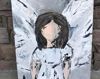 Custom Abstract Angel Girl 16x20 wrapped canvas in neutrals