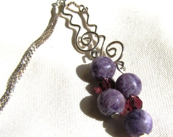 Sterling Silver Ear Threads with 6mm Lepidolite or Purple Charoite and Crystal Beads