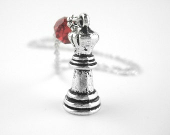Sterling Silver Chess Necklace - Nerd Jewelry - Geek Jewelry - Nerdy Jewelry - Queen Chess Piece - Geeky Gifts For Her