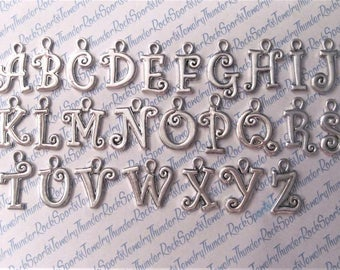 Any 1 LETTER CHARM Antique Silver plated Pendant alphabet Monogram Letter INITIAL a b c d e f g h i j k l m n o p q r s t u v w x y z