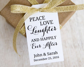 Peace Love Laughter and Happily Ever After - Wedding Favor Tags - Holiday Wedding - Christmas Wedding - Christmas Gift Tags - LARGE