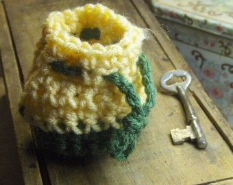 Handmade Crochet Pouch Easter Egg Bag. Use for Jewelry, Rings, change purse. Olive Green & Lemon Yellow drawstring tiny woodland Elf sack