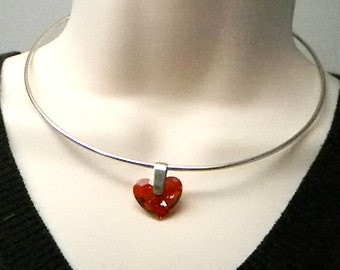 Discreet Slave Collar Swarovski Crystal Element Red Magma Heart Allen Key Locking Day Collar in Sterling Silver