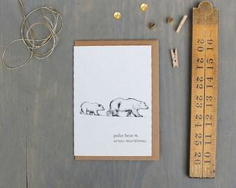 Polar Bear Watercolour Art Greeting Card