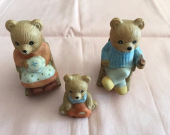 Vintage Homco Home Interiors ROCKING CHAIR BEARS #1470 Set of 3 Porcelain
