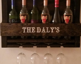 Personalized Pallet Wine Rack // Wine Glass Holder // Wine Rack // Liquor Cabinet // Country Decor // Cabin Decor // Unique Gift Idea