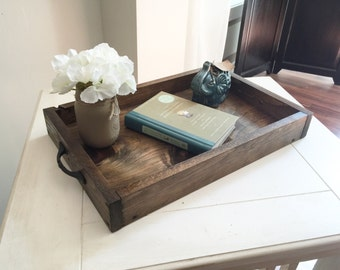 Exceptional Rustic Wooden Ottoman Tray   Decorative Tray   Coffee Table Tray    Farmhouse Decor   Wooden