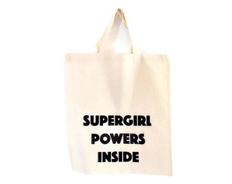 funny tote bags /printed totes / grocery bag with screen print / supergirl tote / reusable shopping bag with print / funny printed tote bag
