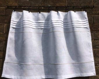 White Cafe Curtain, Linen Window Shade, Grey Embroidered Farmhouse Kitchen, Cottage Decor