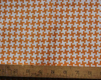1 Yard - Textured Basics - Vintage Houndstooth in Tangerine - Patty Young for MIchael Miller - Orange, White