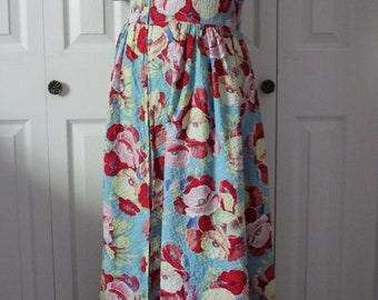 1940s Floral Cotton Quilted House Dress Large