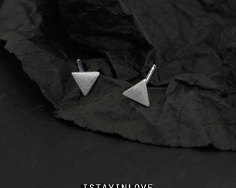 Sterling Silver Geometry Tiny Triangle Earring | Geometry Jewelry I Personalized Gift