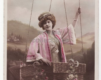 Vintage Real Photo Postcard, Edwardian Woman in Hot Air Balloon Basket, 1910 antique color tinted New Year French postcard