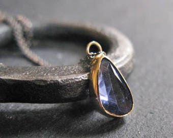 Natural Blue Sapphire Necklace Sapphire Pendant September Birthstone Blue Gemstone Pendant Adjustable Chain 18K Gold Layering Necklace