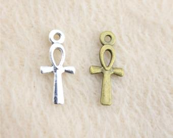 50 x Mini Ankh Charms. Bronze or Silver Available. 17mm x 7mm. Egyptian Cross, Key of Life, Fertility, Wisdom, Crux Ansata Pendants