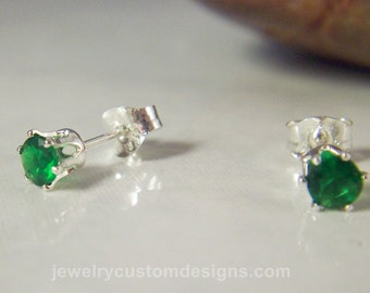 Emerald Lab Stud Earrings, Tiny 4mm Post Earrings, May Birthstone jewelry