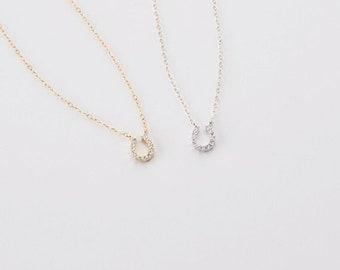Tiny Horseshoe Necklace • Gold Zirconia Necklace • Dainty CZ Horseshoe Necklace • Minimalist Jewelry • Layering Necklace • Gift for Her