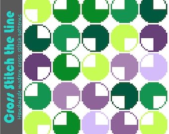 Geometric cross stitch pattern. Mid Century Modern embroidery chart. Contemporary retro design. Green and purple circles. Geometric design.