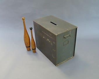 Vintage Ballot Box; Metal ballot box; Large storage box; industrial storage; Industrial decor; Vintage Storage; 2 & Large metal box | Etsy