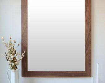 Wooden Mirror - Walnut Mirror - Wall Mirror - Large Wood Mirror - Rustic Mirror - Farmhouse Mirror - Free Shipping