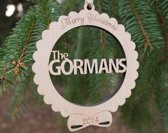 Personalized wedding gift Christmas ornament ,  Custom Family Name Christmas ornament , laser cut wooden engraved ornament