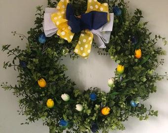 Tulip Wreath-Summer Wreath-Front Door Wreath-Garden  Wreath-Wedding Wreath-Vow Renewal