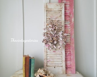 Decorative Wood Shutter with Floral Wall Decor Wall Art Wall Hanging Floral Bouquet Pink Shabby Cottage Distressed Hand Painted Home Decor