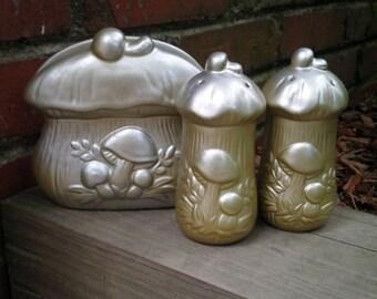 Vintage Woodland Mushroom Ceramic Salt & Pepper Shaker Set + Napkin Holder by Sears Circa 1970s, Refinished Retro Metallic Mushroom Gift Set