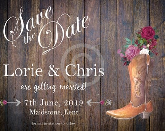 Save The Date Card - Cowboy Boots and Flowers and Arrows Theme