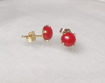 Genuine Red Coral Studs Gemstone Sterling Silver or 14Kt Gold Filled Earrings
