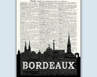Bordeaux Skyline, Bordeaux Wall Art, Bordeaux Home Decor, Bordeaux France, Bordeaux Poster, Bordeaux Art, Bordeaux Cityscape