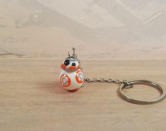 Star Wars, The Force Awakens, Handmade BB-8 droid Inspired key chain, keyring, BB8 bag charm