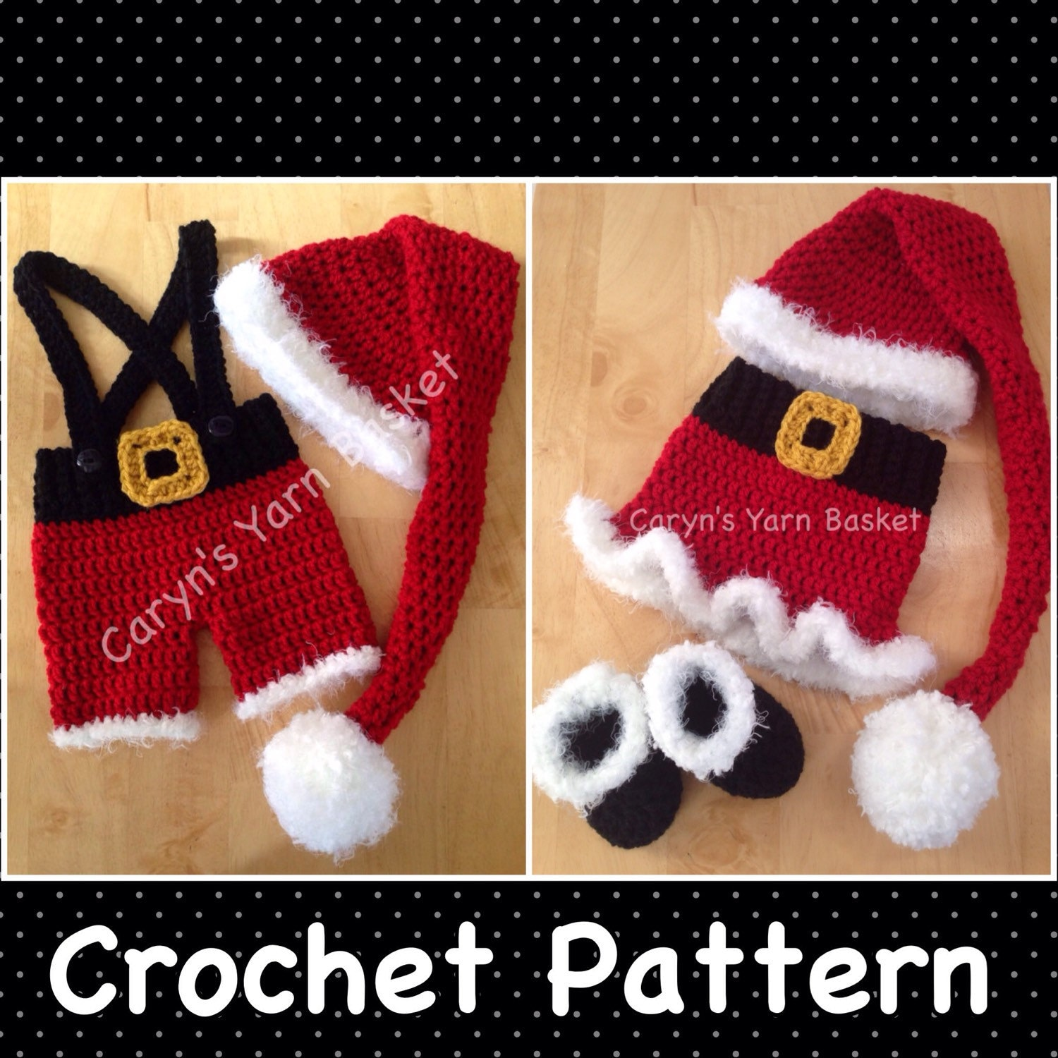 TWO CROCHET PATTERNS 3-6 Month Size Santa\'s Lil Helper