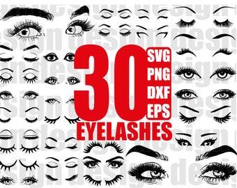 EYELASHES SVG, eyelash svg, eye svg, fashion svg, false eyelash, fashion eyelash, clipart, stencil, vinyl cut files, iron on files