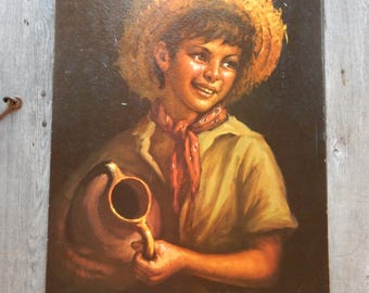 "Country Boy by Tovine - textured Litho print, Unframed 16"" x 20"" Marked Winde Fine Prints, Boy in Straw hat with a jug"