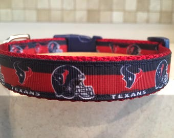 Houston Texans Small and Medium Dog Collar with Optional Matching Leash