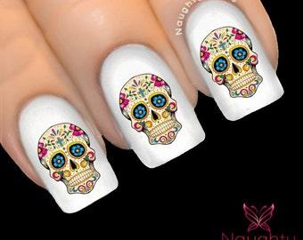 LUCIETTE Sugar Skull Nail Water Transfer Decal Sticker Art Tattoo Day of Dead NNC-139