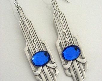 Silver Earrings -  Art Deco Earrings - Sapphire Earrings - Vintage Brass - handmade jewelry