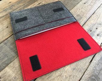 iPad Sleeve - iPad Case - iPad Cover - Mottled Dark Grey and Red - 100% Wool Felt