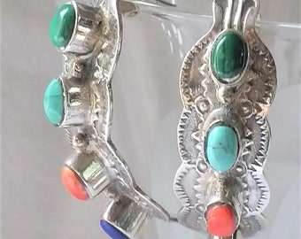 Turquoise Coral and Lapiz Sterling Earrings