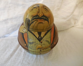 """Vintage 1979 Roly Poly Tin Bristol Ware """"Businessman"""" Replica Division of Chein Industries Retro Storage Collectible Dixie Queen Plug Cut"""