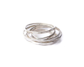 silver stacking rings - set of SEVEN rings - recycled silver - super thin