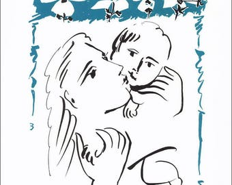Picasso Mother & Baby, Art Print of Famous Work, High Quality A3 format