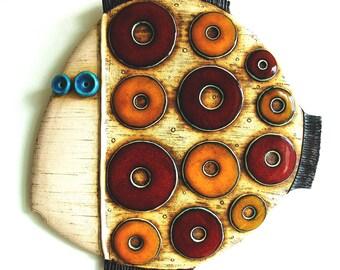 Fish- Handmade ceramic tile,Fine Art Ceramics,Ceramic sculpture