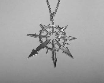 Chaos Star Pendant Chaos Star Necklace Stainless Steel Warhammer Pendant Warhammer Necklace Star of Chaos Pendant Star of Chaos Symbol Sign