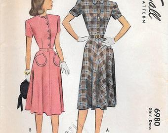 McCall 6980 1940s Girls Shirtwaist Dress Vintage Sewing Pattern Size 12 Tweens Flared Skirt Rockabilly
