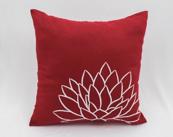 Red White Pillow Cover, Decorative Throw Pillow Cover, Lotus Embroidery, Cushion Cover, Red Linen Pillow Case, Christmas Holiday Decor