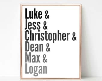 Gilmore Girls Characters Luke, Christopher, Dean, Jess, Logan, Max, Lorelai, Rory, Instant Download Printable Art, Custom, Most Popular Gift