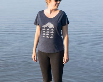 Lake Superior Geo Tri-blend Navy Tee | Hand screen printed, made in USA